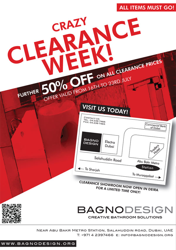 Crazy Clearance Week At Bagno Design Showrooms Across Uae